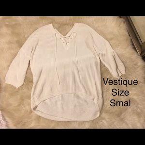 Vestique White Lace up Sweater